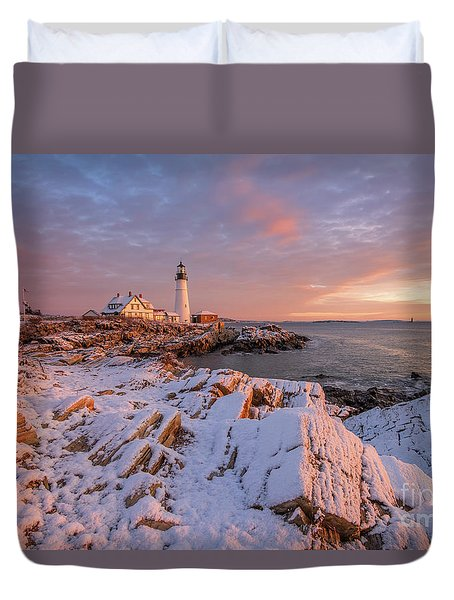 Winter Sunrise At Portland Head Light Duvet Cover