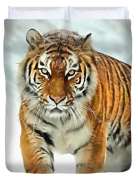 Duvet Cover featuring the painting Winter Tiger by Harry Warrick