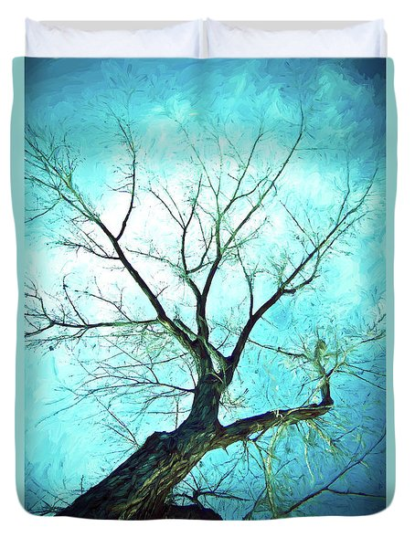 Duvet Cover featuring the photograph Winter Tree Blue  by James BO Insogna