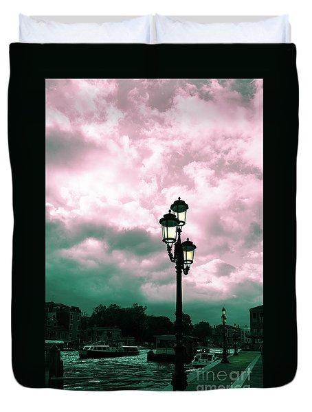 Winter Venice Lantern On The Embankment Duvet Cover
