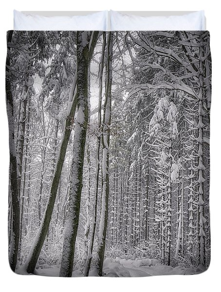 Duvet Cover featuring the photograph Wintry Forest Track by Edmund Nagele