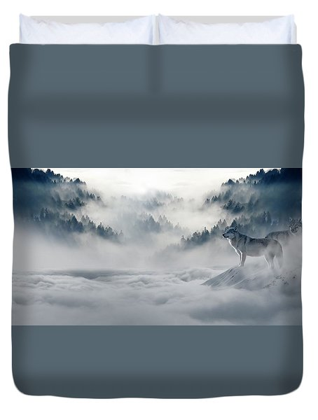 Wolfs In The Snow Duvet Cover