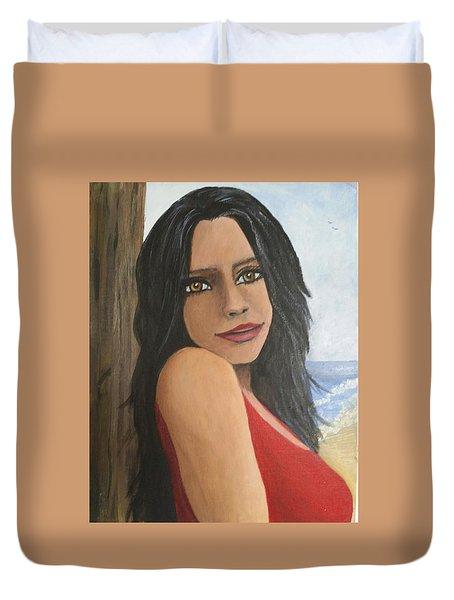 Woman At The Beach Duvet Cover