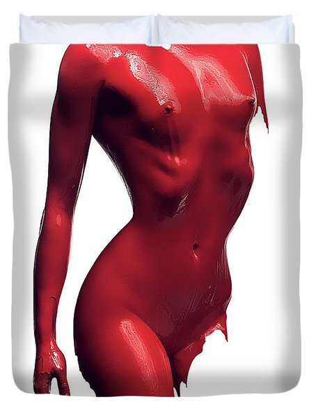 Woman Body Red Paint Duvet Cover