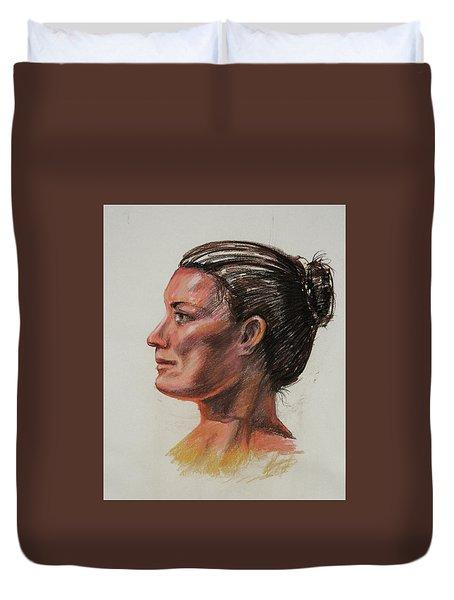 Woman Head Study Pastel Portrait  Duvet Cover