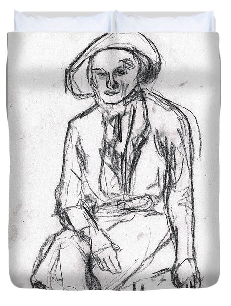 Woman In A Hat Drawing Duvet Cover