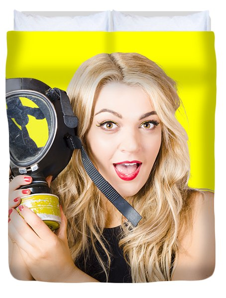 Woman In Fear Holding Gas Mask On White Background Duvet Cover