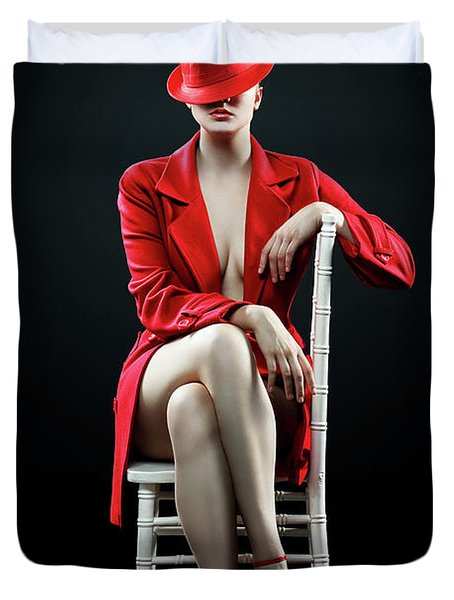 Woman In Red Duvet Cover