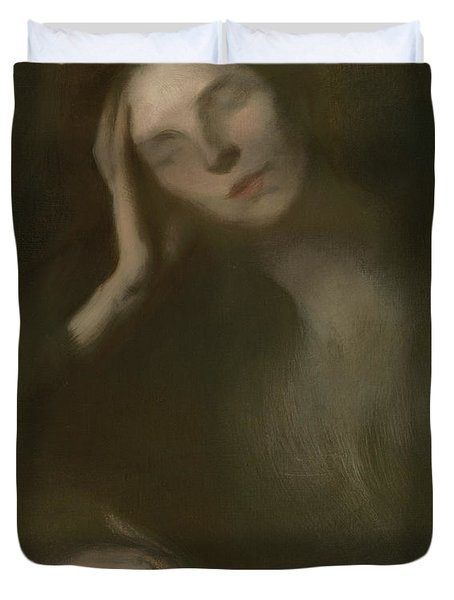Woman Leaning On A Table, 1893 Duvet Cover