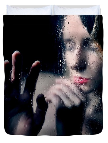 Woman Portrait Behind Glass With Rain Drops Duvet Cover