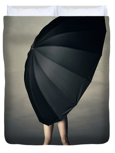Woman With Huge Umbrella Duvet Cover