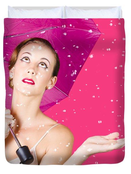 Woman With Umbrella Duvet Cover
