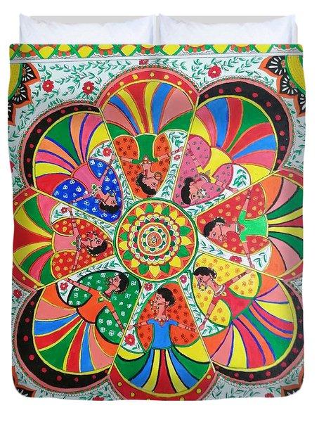 Women Madhubani Painting Duvet Cover