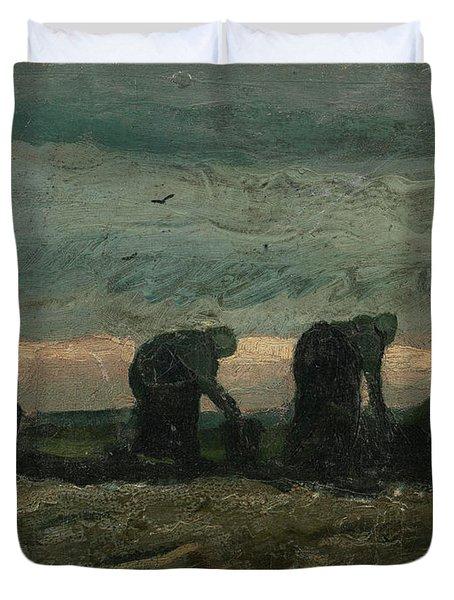 Women On The Peat Moor Duvet Cover