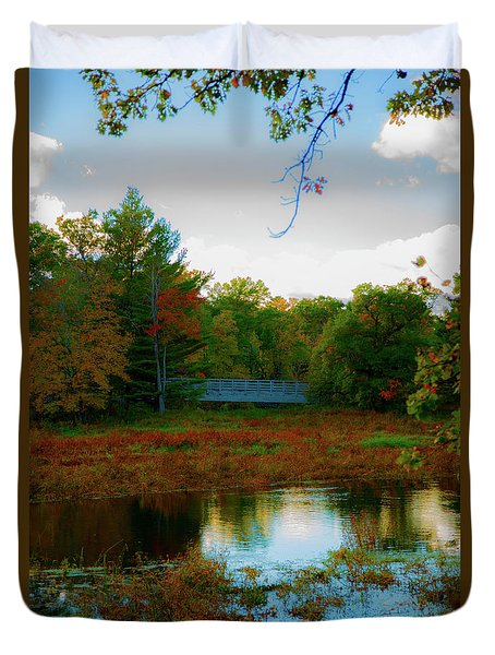 Wood Bridge In The Fall Duvet Cover