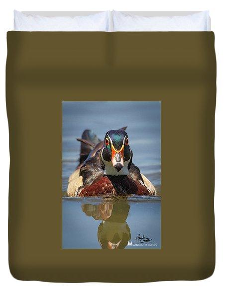 Wood Duck Face First Duvet Cover