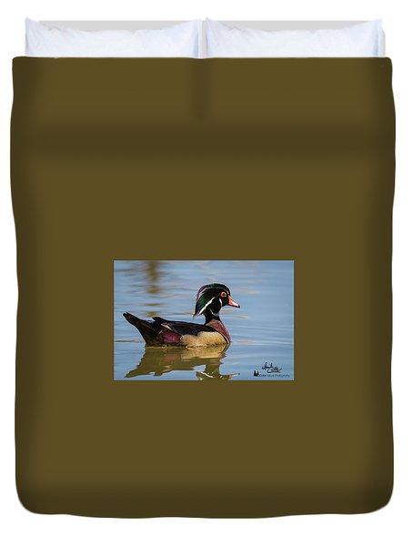 Wood Duck In Dallas Duvet Cover
