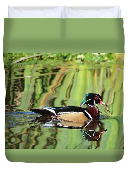 Wood Duck Reflection 2 Duvet Cover