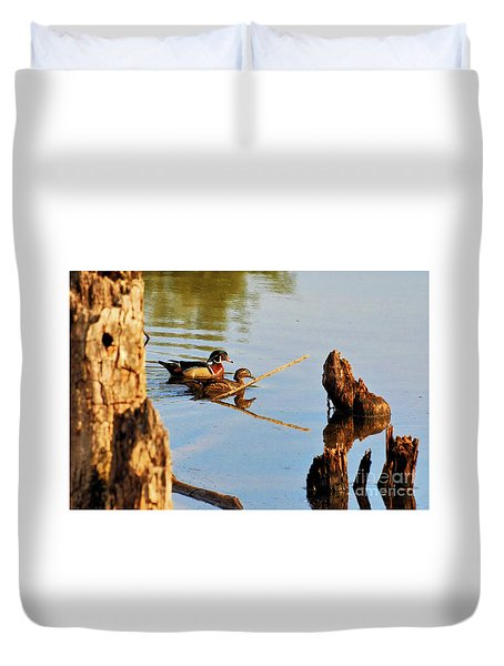 Wood Ducks Duvet Cover