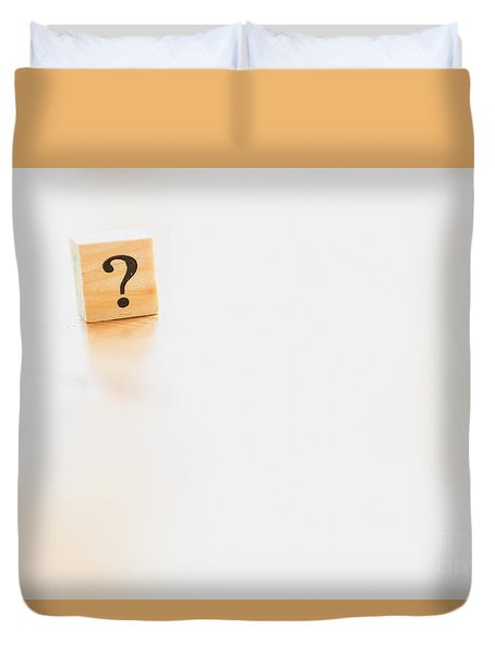 Wooden Dice With Question Mark And Doubt. Duvet Cover