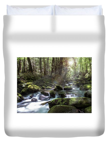 Duvet Cover featuring the photograph Woodland Falls by Patti Deters