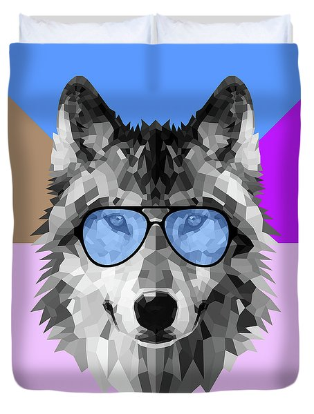 Woolf In Blue Glasses Duvet Cover
