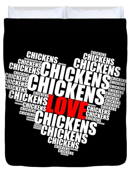 Word Cloud White Love Chickens Duvet Cover