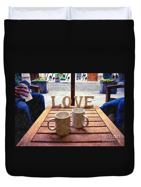 Word Love Next To Two Cups Of Coffee On A Table In A Cafeteria,  Duvet Cover