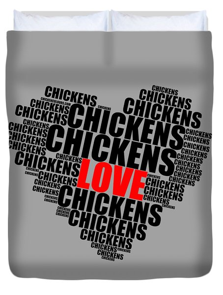 Wordcloud Love Chickens Black Duvet Cover