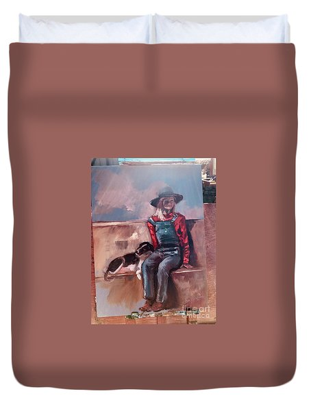 Duvet Cover featuring the painting Work  In Progress by Jan Dappen