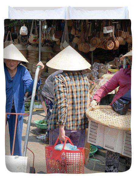 Working Women In Vietnam Duvet Cover