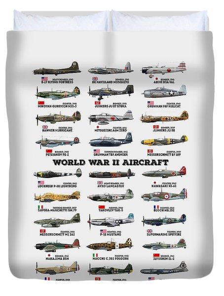 World War II Aircraft Duvet Cover