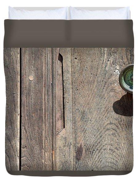 Worn Brass Door Handle Of Tuscany Duvet Cover