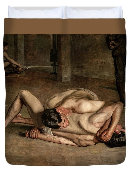 Wrestlers, Circa 1899 Duvet Cover