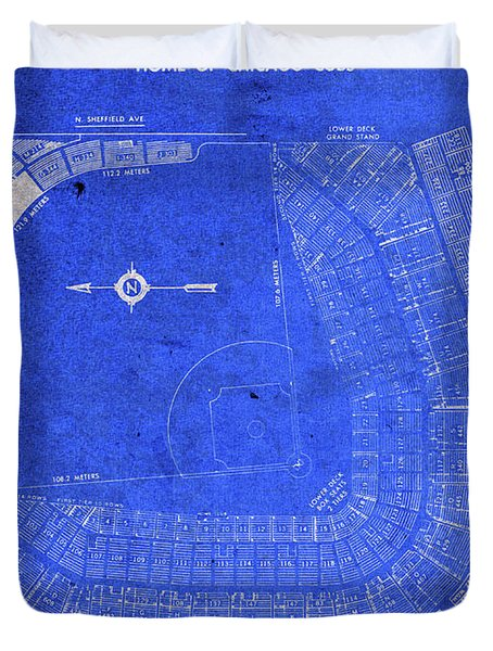 Wrigley Field Chicago Seating Chart Vintage Patent Blueprint Duvet Cover