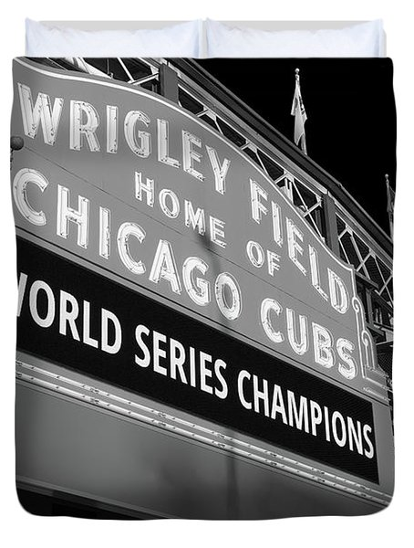 Wrigley Field Marquee Angle B W Duvet Cover