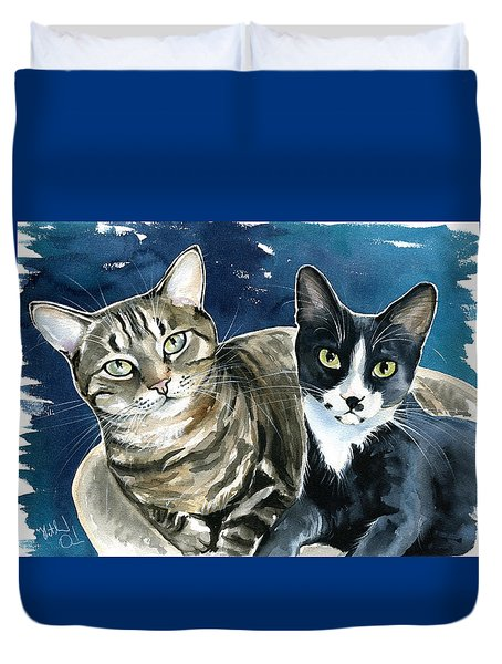 Xani And Zach Cat Painting Duvet Cover