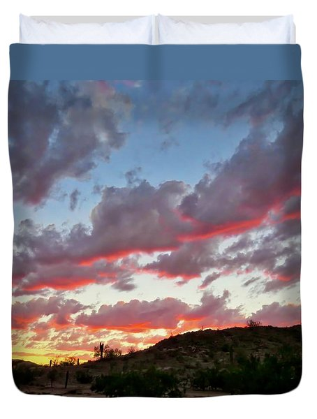 Duvet Cover featuring the photograph Y Cactus Sunset  11 by Judy Kennedy