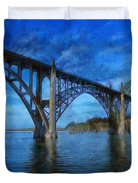 Duvet Cover featuring the photograph Yaquina Bay Bridge From South Beach by Thom Zehrfeld