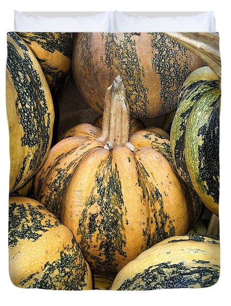 Yellow And Green Pumpkins Duvet Cover