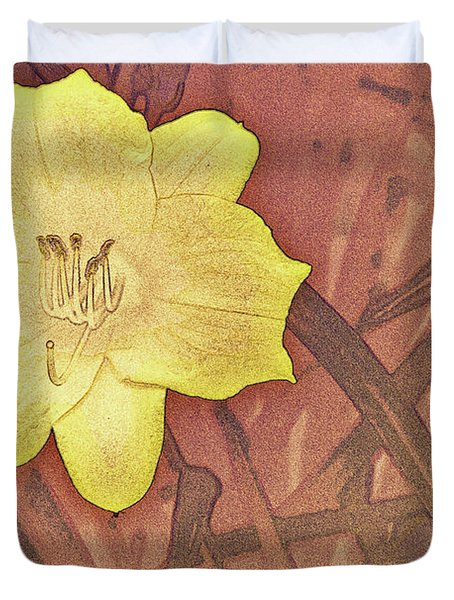 Yellow Day Lily Stencil On Sandstone Duvet Cover