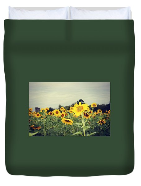 Duvet Cover featuring the photograph Yellow Fields by Candice Trimble
