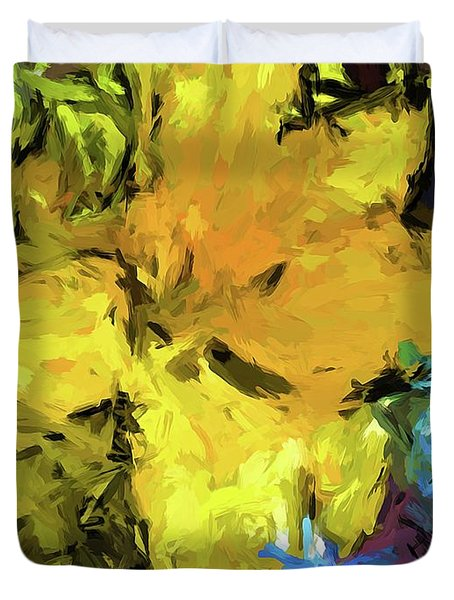 Yellow Flower And The Eggplant Floor Duvet Cover
