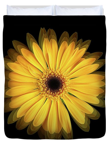 Duvet Cover featuring the photograph Yellow Gerbera Daisy Repetitions by Bill Swartwout Fine Art Photography