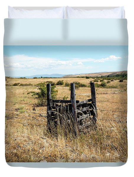 Yellow Grass And Fence Anchor Duvet Cover