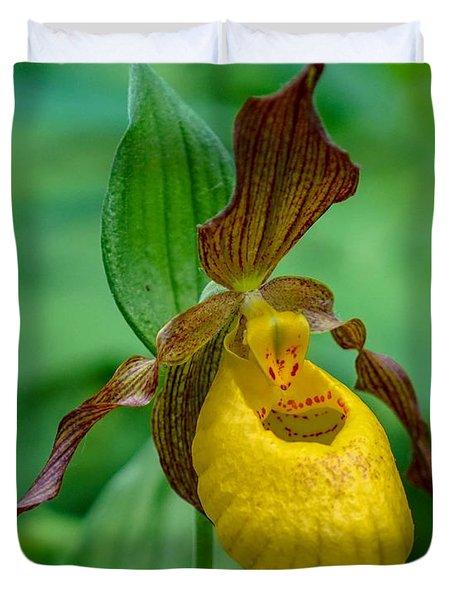 Yellow Lady's Slipper Duvet Cover