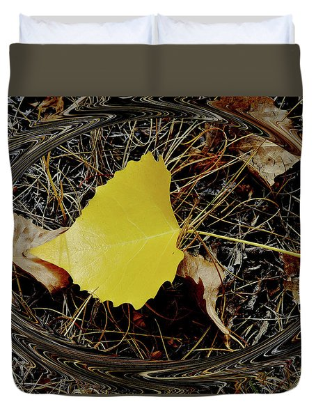 Yellow Leaf In Pine Needles Duvet Cover