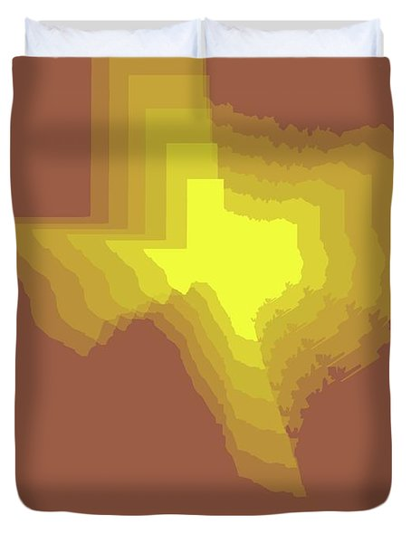 Yellow Map Of Texas Duvet Cover