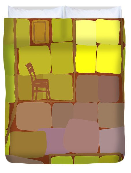 Duvet Cover featuring the digital art Yellow Room by Attila Meszlenyi