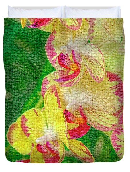 Yellow/rouge Orchids Duvet Cover